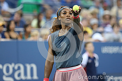 Sixteen times Grand Slam champion Serena Williams during his first round doubles match at US Open 2013 Editorial Stock Image