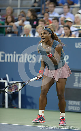 Sixteen times Grand Slam champion Serena Williams during his first round doubles match at US Open 2013 Editorial Image