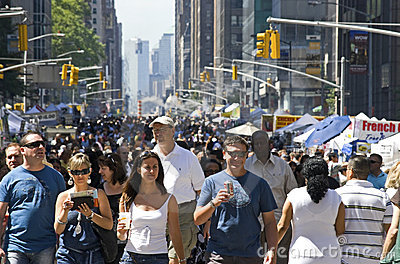 Sixth Ave Crowd Editorial Stock Image