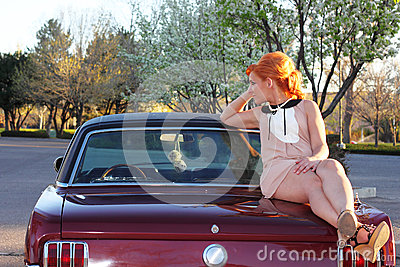 Sixties Woman on Muscle Car