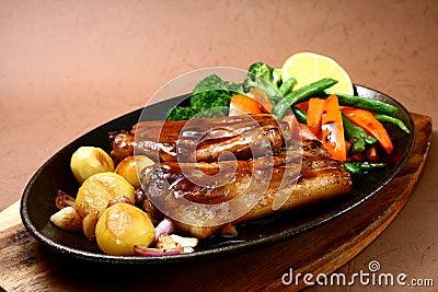 Sizzling pork ribs