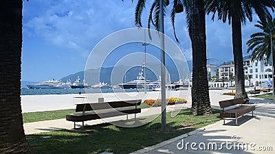 Skönhet och fred ` nära för havet, `-Porto Montenegro, Tivat, `-fjärd av Boka Kotorska för Kotor `-` `, stock video