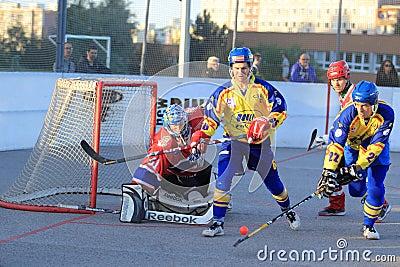 SK Kert Prague vs. SK Jihlava - czech ball hockey Editorial Stock Image