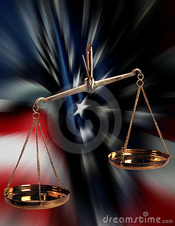 Skalen von Gerechtigkeit und VON US-Markierungsfahne