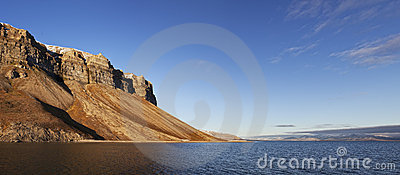 Skansen cliffs panorama, Svalbard, Norway