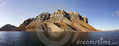 Skansen cliffs panorama, Svalbard, Norway