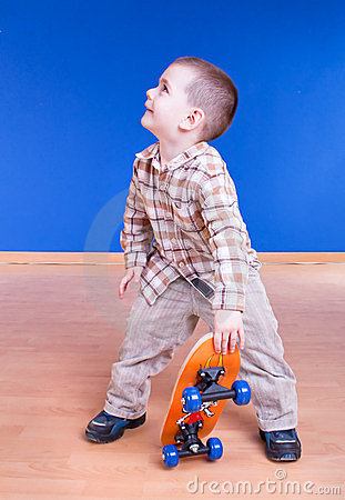 Skate dude . Cute boy with skateboard posing