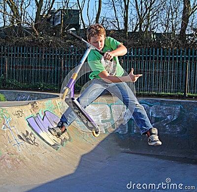 Free Skate Park Scooter Boy Stock Photography - 38198122