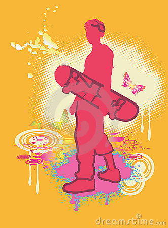 Skateboard red boy