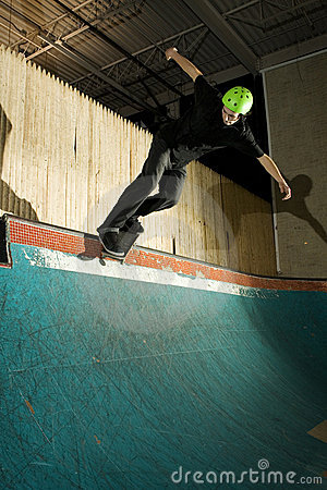 Free Skateboarder Doing Backside Smith Grind On Ramp Stock Photography - 8337382