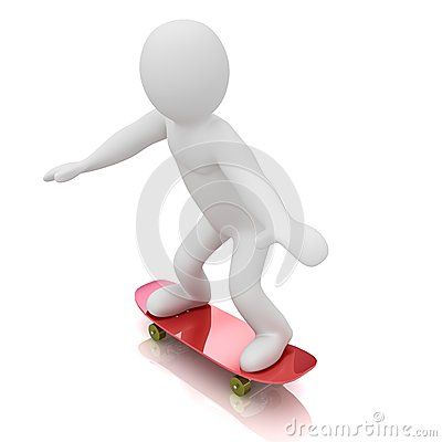 Skateboarder. Isolated. Stock Photo