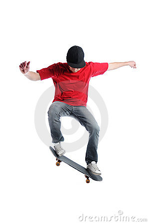 Free Skateboarder Jumping Isolated On White Royalty Free Stock Photos - 17888658