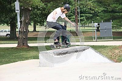 Skateboarder Landing