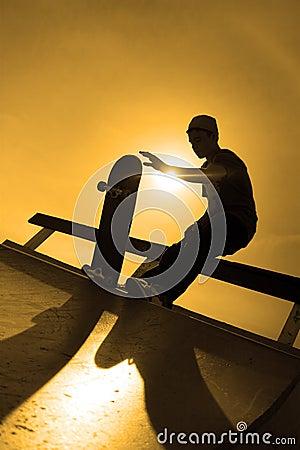 Free Skateboarder Silhouette Stock Photo - 12107590