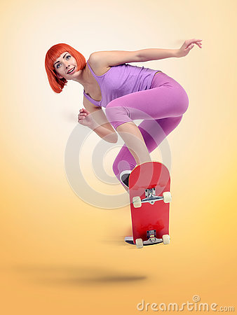 Free Skateboarder Young Woman Jumping On Yellow Background Royalty Free Stock Image - 73676026