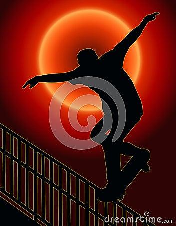 Skateboarding Nosegrind Rail Sunset Back
