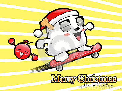 Skateboarding riding Santa Claus and bomb. Christmas Card Design