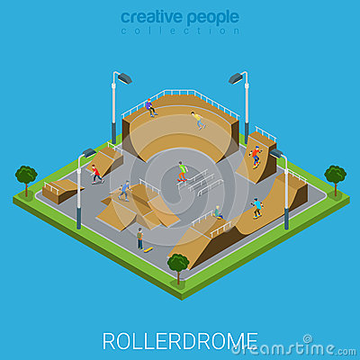 Free Skatepark BMX Skate Park Rollerdrome Isometric Flat Vector Royalty Free Stock Image - 66180856