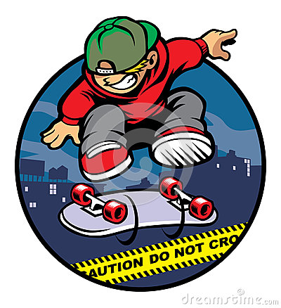 Free Skater Boy Doing Kickflip Over Police Line Stock Photography - 35695482