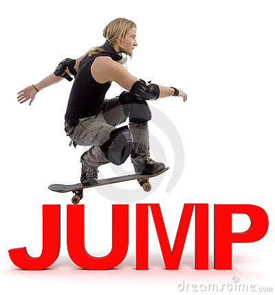 Skater jumping over text