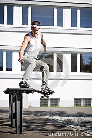Skater making a slide