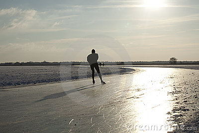 Skater on natural ice in the Netherlands