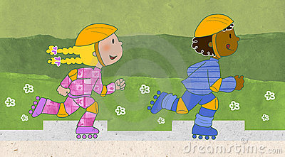 Skaters boy and girl