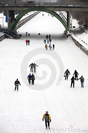 Skaters on the Rideau Canal, Ottawa, Ontario Editorial Stock Image