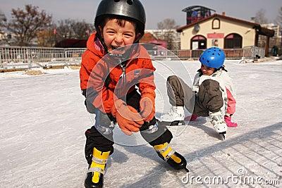 Skating children fun on snow
