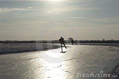 Skating on natural ice in the Netherlands Editorial Photography