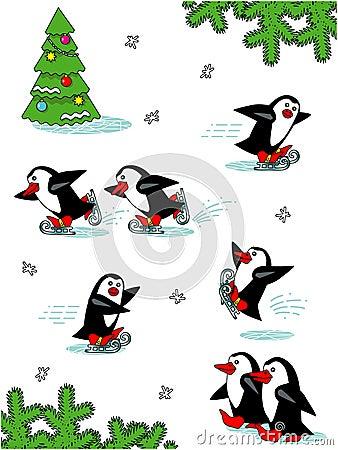 Skating penguins, cartoon characters
