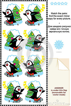 Skating penguins match mirrored images riddle