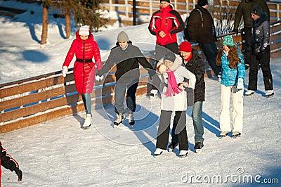 Skating rink in Gorky Park Editorial Stock Image