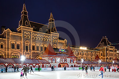 Skating-rink on red square in moscow at night