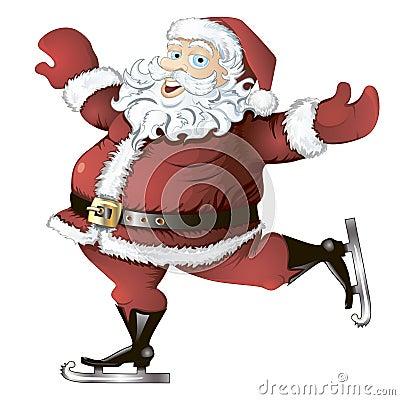 Skating Santa Claus isolated