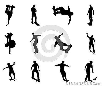 Skating skateboarder silhouettes
