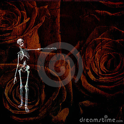 Skeletal figure and roses