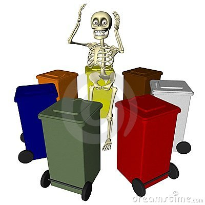Skeleton with bins for various types of waste