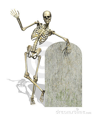 Skeleton with Blank Gravestone