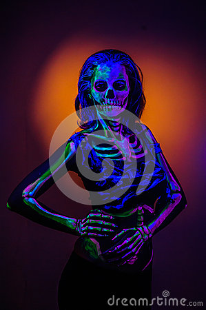 Free Skeleton Bodyart With Blacklight Royalty Free Stock Photo - 54850745