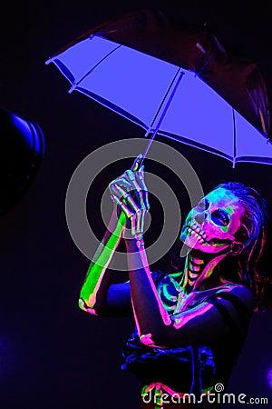 Free Skeleton Bodyart With Blacklight Royalty Free Stock Photo - 54851295