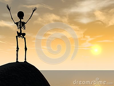 Skeleton climber silhouette on top of rock