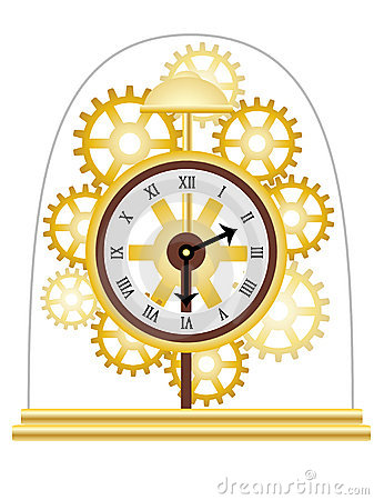 Skeleton Clock Golden Multiple Gears Vector Royalty Free Stock Images - Image: 12779589