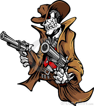 Free Skeleton Cowboy With Skull And Hat Aiming Guns Royalty Free Stock Images - 23698269