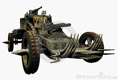 Skeleton Driving a War Machine - includes clipping path