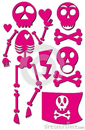 Skeleton emo icon set