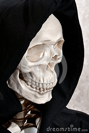 Skeleton face in hood