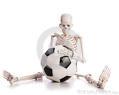 Skeleton with football