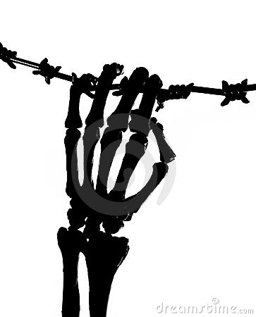 Skeleton hand and barbed wire