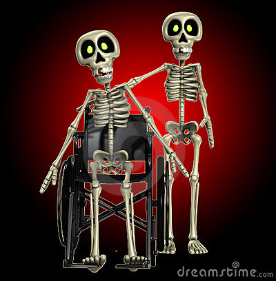 Skeleton Helping A Disabled Skeleton